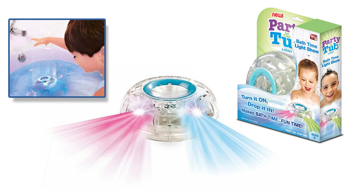 Žaismingoms ir linksmoms vaikučių maudynėms! Šviečiantis vonios žaislas PARTY TUB